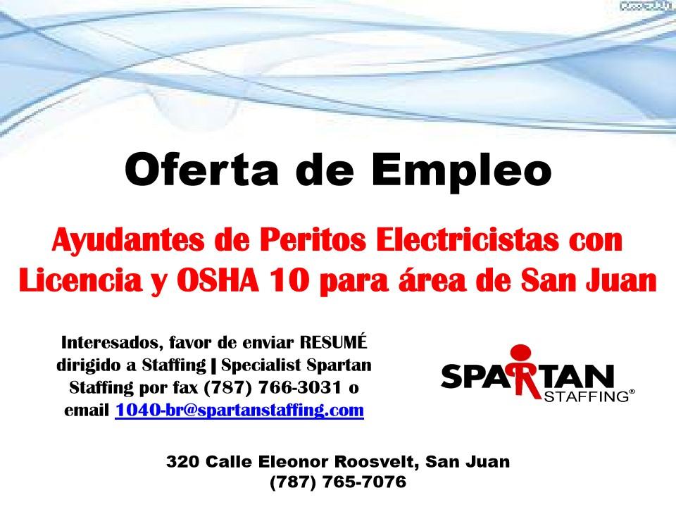 Oferta de empleo ayudantes de peritos electricistas con for Trabajo de electricista en malaga